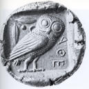 Silver coin from Athens with an owl on it