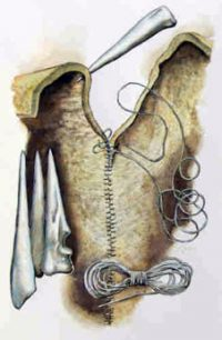 drawing of an awl, thread, stitching on leather