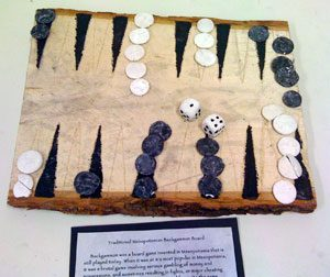 Model of a backgammon board