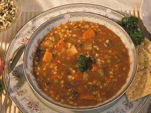 a bowl of barley soup