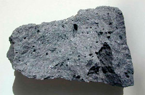 Basalt: a rough black rock