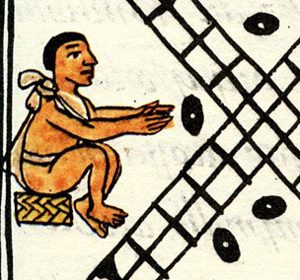 Aztec men throw beans as dice in a gambling game (Florentine Codex, ca. 1520 AD)