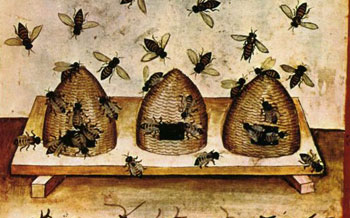 Beehives in Europe, about 1400 AD