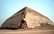 The Bent Pyramid curves in at the top instead of being straight - Egyptian pyramids