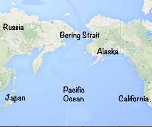 Bering Strait - today there's ocean, but long ago there was a land bridge