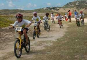 Kids having a bike race