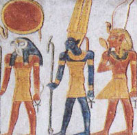 The Egyptian god Amun is the blue figure in the center.(From the tomb of Rameses VI at Luxor)
