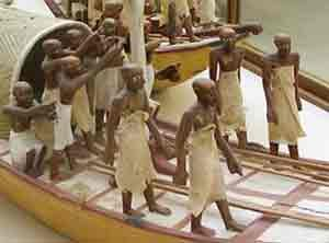 From the same tomb, men on a boat