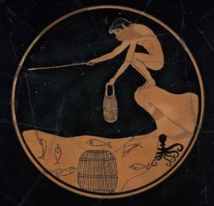 Ancient Greek vase showing a naked boy crouching on shore with a fishing pole and a crab trap
