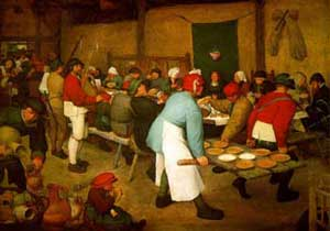 Brueghel painting of a wedding. Men are wearing leggings and short tunics and caps