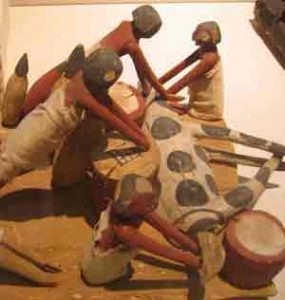 Men working in a butcher shop (ca. 2300 BC),now in the Oriental Institute, Chicago