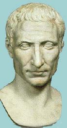Julius Caesar stone bust of a thin white man with his hair in a sort of short bowl cut