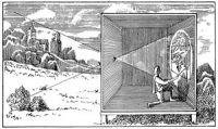 Renaissance European drawing of a camera obscura the size of a room