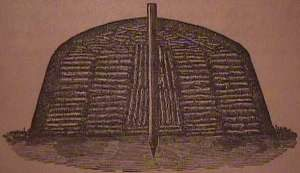 Charcoal pile cross-section (from The Knowledge Library, 1919, first printing 1915)
