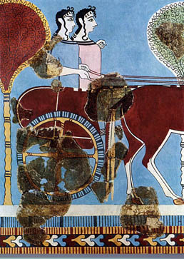 Women from Mycenaean Greece driving a chariot, about 1300 BC