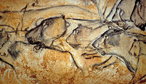 Cave painting of lions (Chauvet Cave, France, ca. 30,000 BC)