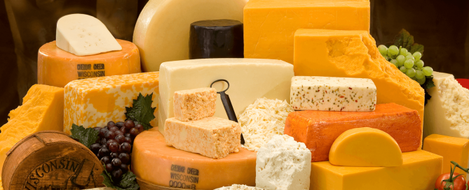 Lots of different kinds of cheese