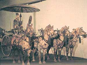 Chinese model of a chariot and four horses