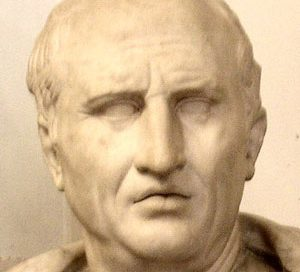 Cicero: stone bust of a middle-aged white man