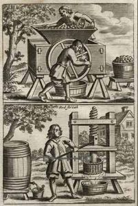 Grinding apples and pressing cider (Vinetum Britannicum; London 1678)