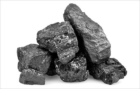 lumps of coal - look like black rocks (history of coal)