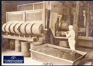 Ghirardelli machine crushes cocoa beans (1850s)