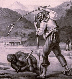 A white man beating an enslaved African man in Brazil