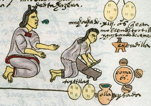 A woman teaches her daughter to make tortillas