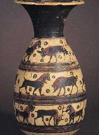 Corinthian vase with animals marching around it in horizontal bands
