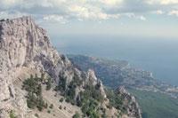 Crimea: bare limestone with shrubs