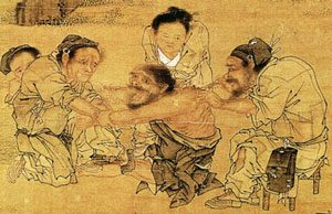 Chinese painting of a doctor treating a patient