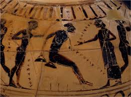 Greek vase showing a man doing a long jump holding weights in both hands