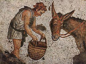 Roman mosaic of a man feeding a donkey out of a basket