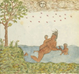 Arawak or Carib woman and children swimming in the ocean (Trinidad, Drake Manuscript, ca. 1586 AD)