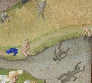 Men and women swimming in the Middle Ages (Tres Riches Heures du Duc de Berry (ca. 1450 AD)