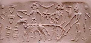 Sumerian man plowing on a cylinder seal