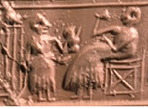 Sumerian drinking wine ca. 2600 BC (Early Dynastic III; now British Museum 121545)