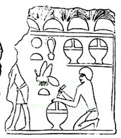 Egyptian bee-keeping, 5th Dynasty (Temple of Pharaoh Niuserre at Abu Gorab, ca. 2400 BC)