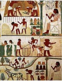 Ancient Egyptian painting of farm workers