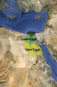 A map showing Lower Egypt (in the north) and Upper Egypt (in the south)