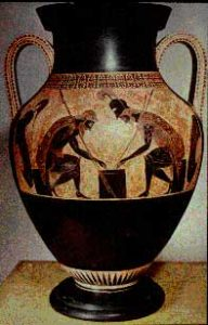 a pottery vase with black figures and a red background