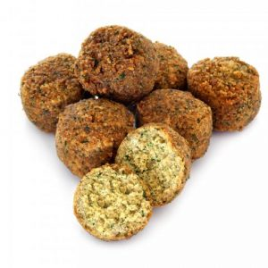 round brown fried balls, with one broken open to show a lighter brown inside flecked with green herbs