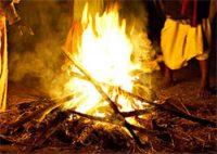 a big campfire of sticks