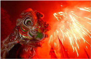Fireworks and a Chinese dragon