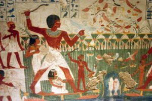 Fishing in the swamps on the edges of the Nile River - Egyptian art history