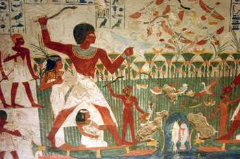 Fishing in the swamps on the edges of the Nile River from the tomb of the astronomer Nakht Sixth Dynasty (New Kingdom, ca. 1400 BC)