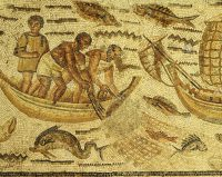 Roman mosaic of a fishing net