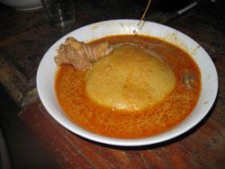 Fufu with peanut sauce (Ghana)