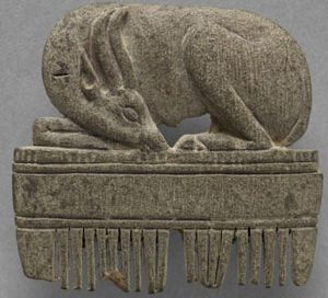 A carving of a gazelle on a hair comb (1300s BC, now in the Cleveland Museum of Art)