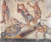 Gladiators fighting on a Roman mosaic floor
